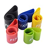 FIXBODY 5 Pack Exercise Loops Resistance Bands for Home Fitness, Stretching, Pilates, Yoga, Rehab, Physical Therapy and More with Instruction Guide (Colorful-1) For Sale