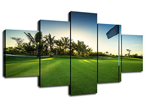 Golf Course Pictures Modern Art Painting Printing Wall Decor for Golf Room 5 Piece Canvas Green Grass Meadow Poster Framed Decoration Golf Players Golfers Gift Wall Art for -