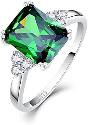Merthus 925 Sterling Silver 5.3 cttw Created Green Nano Emerald Ring