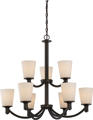 Nuvo Lighting 60/5929 Laguna 9 Light 100W A19 max. Medium Base 2 Tier Chandelier with White Glass, Aged Bronze
