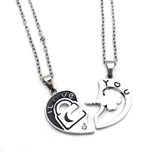 Vanker Couple Lovers Lock and Key Heart Pendant Chain Necklace - 1