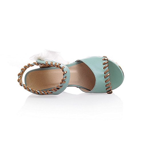 Allhqfashion Mujeres Soft Material Lace Up Open Toe High Heels Assorted Sandalias De Color Azul