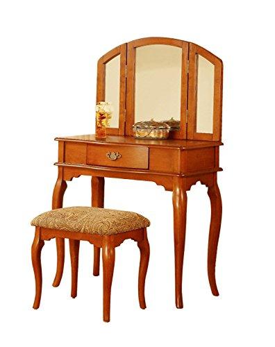 BOBKONA Jaden Collection Vanity Set with Stool, Oak - Bedroom Oak Vanity