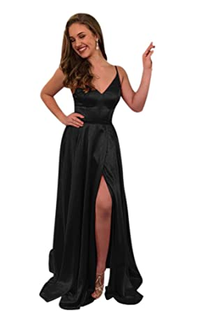 e8b47db177a ElenaDressy Women s Simple Spaghetti Straps A Line Long Prom Dresses with  Slit