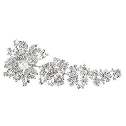 EVER FAITH Women's Austrian Crystal Wedding Bridal Flower Leaf Brooch Clear (Dress Brooch)
