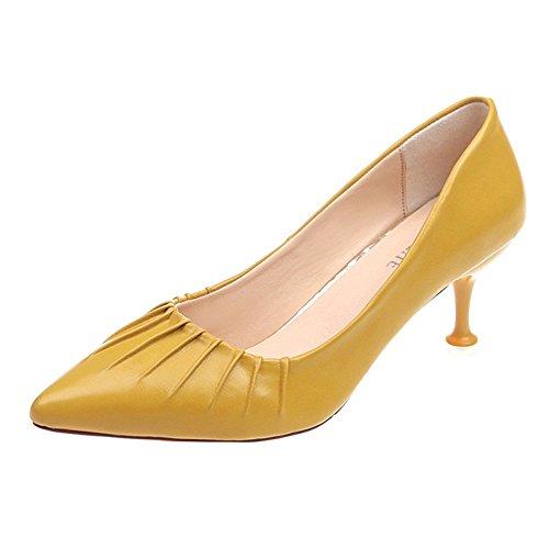 Alto Puntiagudo Talons de Las Profesionales de Aguja tacón décontractés Zapatos tacón Amarillo Boca Mujeres Moda Baja 6qS4xq7