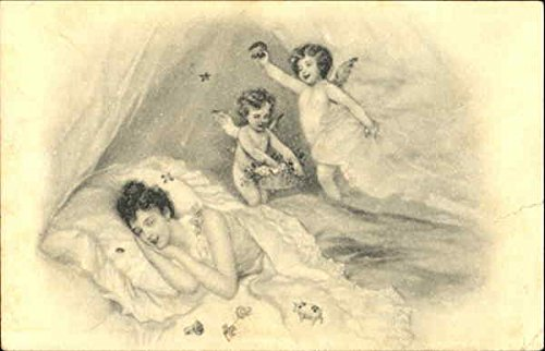 Women Sleeping With Cherub Angels Overhead Original Vintage Postcard