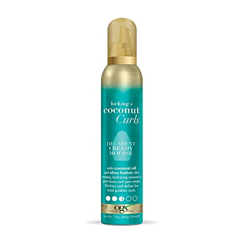 OGX Locking + Coconut Curls Decadent Creamy Mousse, 7.9 (Curl Enhancing Hair Products)