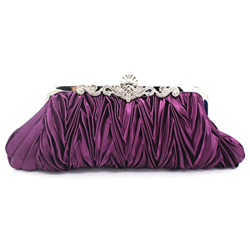 Elegant Verus Satin Clutch Bag Prom Party Wedding Purple Purse Handbag Ladies Bags Womens Rhinestone Pleated Evening 5prx1wAqp