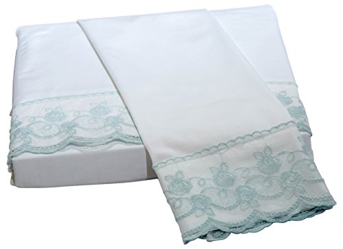 (Belle Epoque Traditional Capri LACE Floral Sheet Set, Queen, White/Fr.Blue)