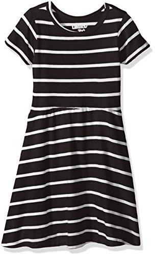 Limited Too Big Girls' Skater Dress with Stripe, Black/White, 10/12