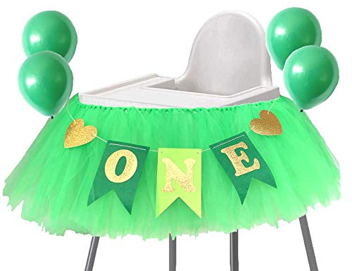Green 1st Birthday Boy Baby High Chair Tutu Decoration for Highchair Jungle Safari Theme Party Supplies -