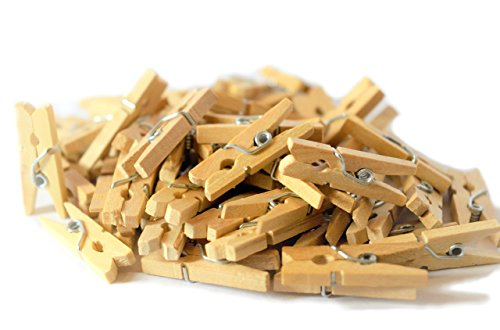 Maks Guzz Craft 100-Pack of 1.0 Inch (25mm) Mini Wooden Clothespins for Home School Arts Crafts Decor DIY Screen(Natural Wood), -