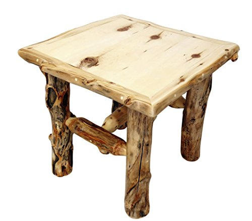 Mountain Woods Furniture Aspen Grizzly Collection End Table, Beeswax/Linseed Oil Finish Aspen Log Furniture