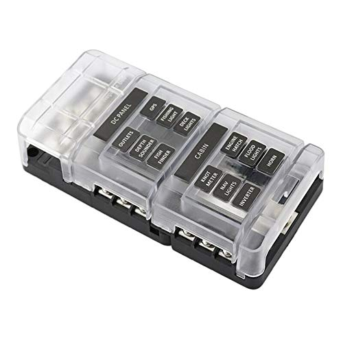Modular 12 Way Fuse Block with Negative Bus Automoive Camper Travel Trailer Truck Solar set up Marine Boat Fuse Box 12V-32V Red LED Indicator PBT ()
