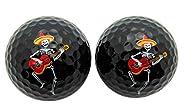 Dia De Los Muertos Mexican Mariachi Set of 2 Novelty Golf Ball Fun Golfing Gag Gift for Golfer