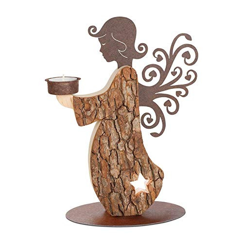 Candle Wing Angel (Black Forest Hardwood Bark Angel with Candle Holder and Rusted Steel Wings Handmade in Germany)
