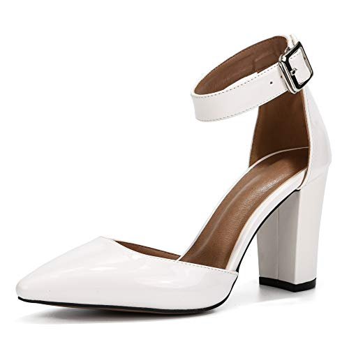 - Women's Elegant D'Orsay Ankle Strap Pointed Toe Pumps Block Chunky High Heel Shoes White Matte PU-36(230/US6)