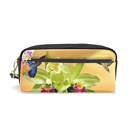WIHVE Orchid Hummingbird Butterfly School Students Pencil Case Pen Bag Women Case Makeup Cosmetic Bag With Zipper