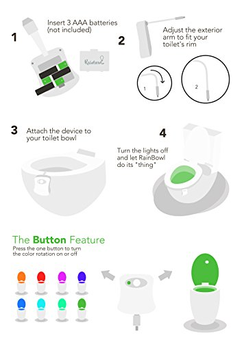 Premium-Motion-Sensor-Toilet-Bowl-Night-Light-by-RainBowl-Multi-Color-Changing-LED-Cool-New-Gadget-for-Safety-Comfort-Fun-Potty-Training-Gift-included-Ebook