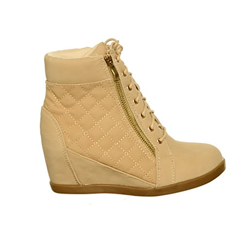 shoewhatever Frauen PL Hi-Top Wedge Schnür Mode Turnschuhe Beigepr45