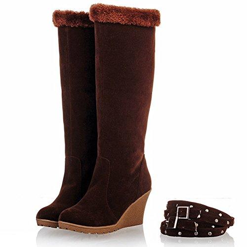 Stivali Da Neve Caldi Inverno Ifantasy Per Le Donne In Camoscio Zeppe Tacco Alto Fibbia Stivali Metà Polpaccio Caffè