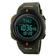 Gosasa Men's Watch Sports Digital Compass Survival 50M Waterproof Stopwatch Alarm (Green)