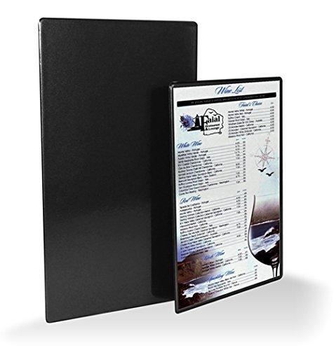 (MenuCoverMan Case of 12 Malaga Menu Boards #MCM-MALAGA-2V-8.5X14-BLACK - New Hardback Heat-Sealed Restaurant Menu Covers - Top Opening - Two View 8.5