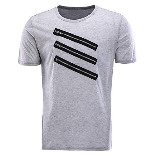 NRUTUP Mens Vintage Breathable Solid Loose Chest Zipper T Shirts Blouses (Gray,M) by NRUTUP (Image #3)