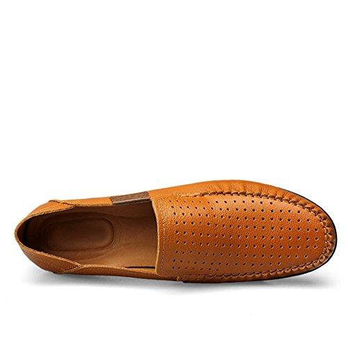 Hombre Conducción Comodidad Coche Cuero Zapatos Mocasines Marrón1 Shenn Ponerse Z6wqSwH