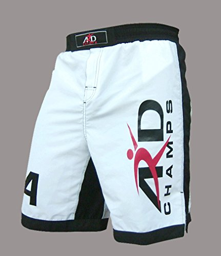 ARD-Champs Xtreme MMA Shorts UFC Cage Fight Boxing White (Large) ()