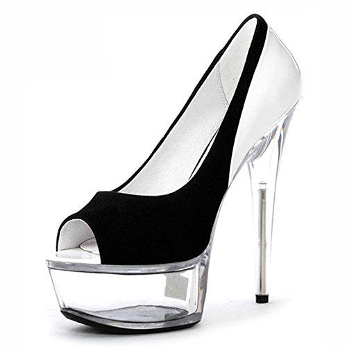 L@YC Frauen 15cm High Heels wasserdicht gehasst Tage hohen Fisch Mund flachen Mund Nachtclubs mit dünnen Schuhen White
