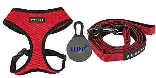 Puppia Dog Soft Mesh Harness and a Leash COMBO Color:Red Size:Small