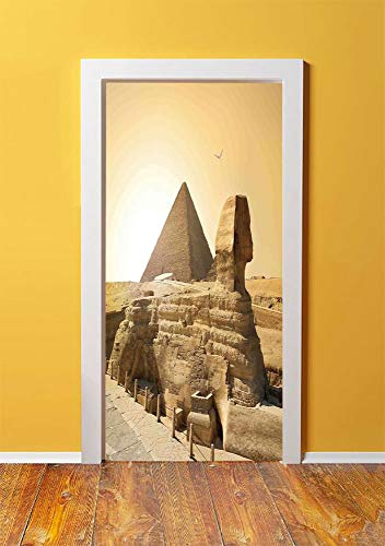 (Ancient Decor 3D Door Sticker Wall Decals Mural Wallpaper,Egyptian Pyramids Famous Great Landmark Wonders of the World Heritage View,DIY Art Home Decor Poster Decoration 30.3x78.621,Sand Brown)