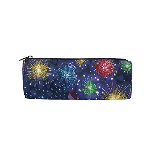 ALAZA Independence Day American Flag and Firework Zipper Pencil Case Roll Pen Makeup Bag Holder Box Pouch for Students School Supplies