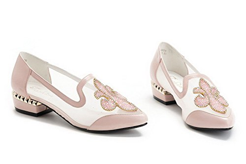 VogueZone009 Womens Closed Toe Pointed Toe Low Heels PU Soft Material Solid Pumps with Glass Diamond Pink gqpnCUpQ