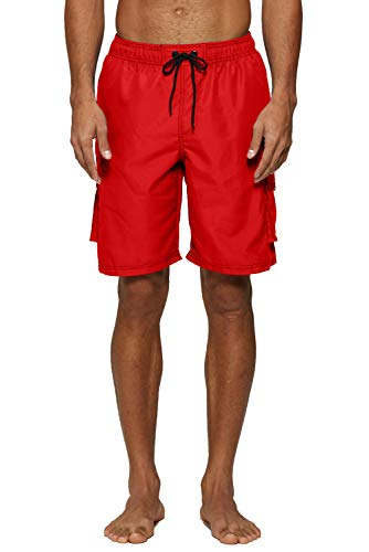 Mens Swim Red Trunks (ELF QUEEN Beach Shorts for Men Swim Trunks Quick Dry Regular Size Swimwear Red Medium)