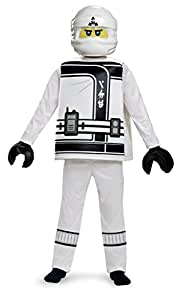 Zane LEGO Ninjago Movie Deluxe Costume, White, Small (4-6)