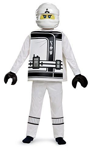 Disguise Zane Lego Ninjago Movie Deluxe Costume, White, Small (4-6) -