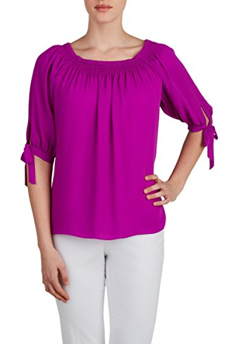 Nygard 3/4 Sleeve Blouse (Nygard Women's Plus Size Peter Nygard Woven 3/4 Sleeve Smock Neck Blouse SprMage)