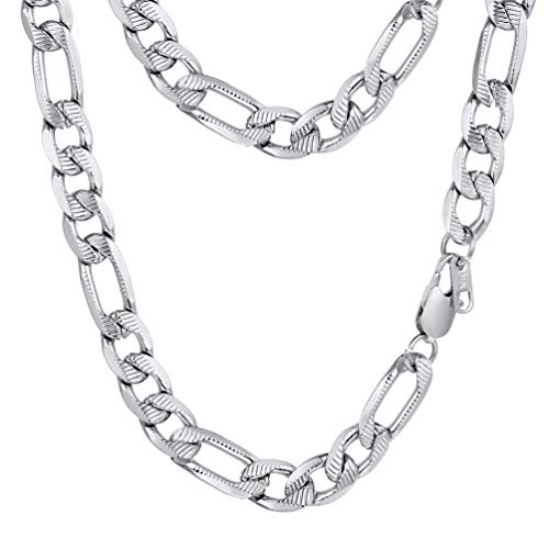PROSTEEL Stainless Steel Figaro Chain Necklace Vintage Chunky Link Long Necklace Gift Women Men - Vintage Necklace Chunky