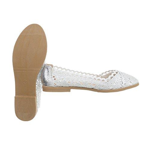 Tacco Blocco Design argento a 5121 Donna Ballerine Ballerine Classiche Ital Scarpe da xXFWv0n0