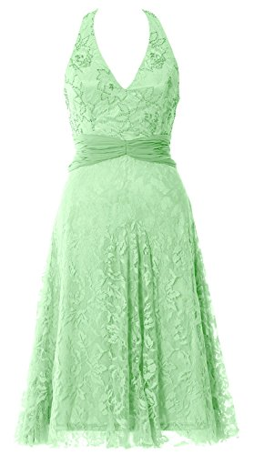 MACloth Women Halter Beaded Lace Short Formal Cocktail Party Dress Evening Gown Menta