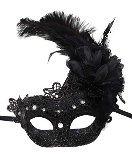 Biruil Feather Masquerade Mask Eyemask Halloween Mardi Gras Cosplay Party Face Mask (Lace Black) -