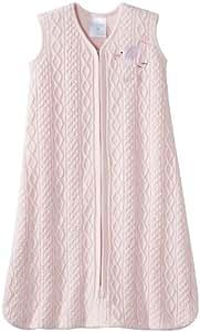 Halo Sleepsack Cable Knit Sweater Wearable Blanket, Pink Bird, Medium