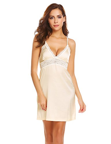 Ekouaer Womens Sexy Lingerie Chemise Silky Nightgown Plus Size,Satin-beige,X-Large