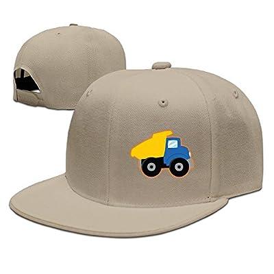 PeaceTown Yellow Dump Truck Solid Flat Bill Hip Hop Snapback Baseball Cap Unisex Sunbonnet Hat.