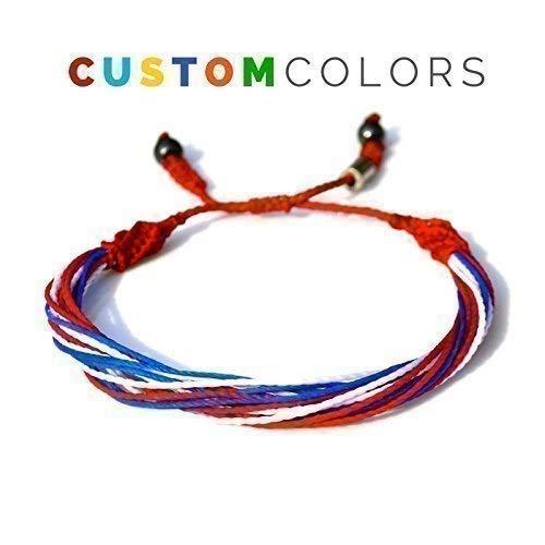Custom Bracelet for Men and Women in Country, Flag, College, University or Sports Team Colors: Handmade Nylon Cord Multistrand String Bracelet by Rumi Sumaq