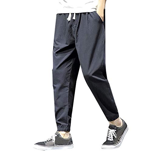 Men's Pants Casual Cotton Linen Trousers Loose-fit Beam Foot Beach Drawstring Pants with Pockets Black