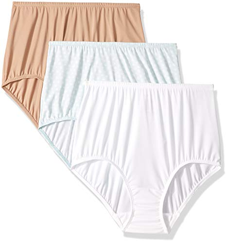 - Olga Women's Without A Stitch 3 Pack Brief, Toasted Almond/White/Starlight Ditsy Print M